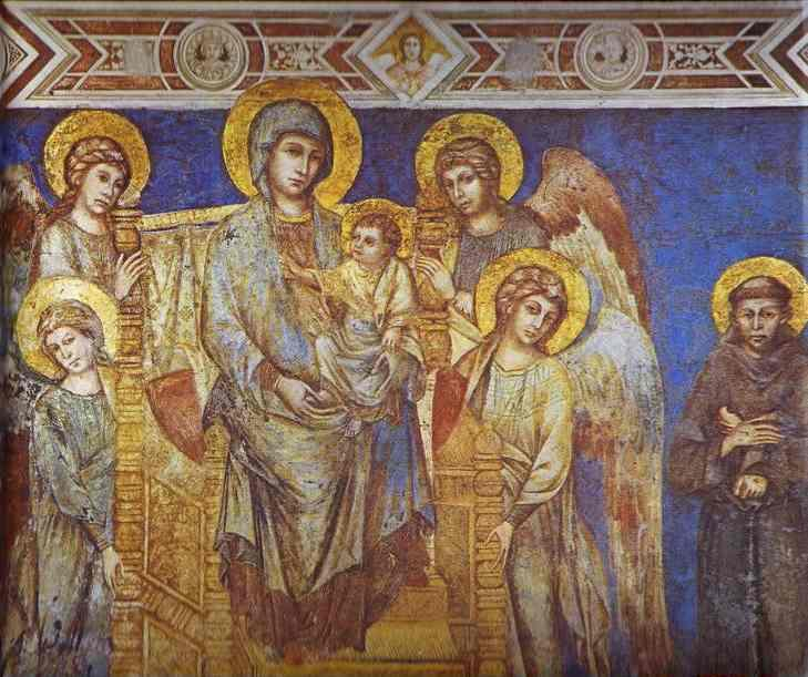 The Blessed Mother with the Infant Jesus surrounded by angels, with St. Francis looking on