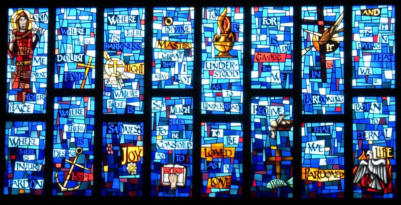 Peace Prayer in stained glass